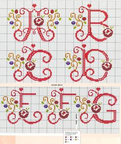 *-* Red Alphabet with Flowers and Gold Vines Cross Stitch Pattern A-G 1/4