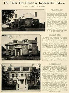 1920 Print Taggart House Frederick Wallack Architecture Indianapolis Indiana HB2 Turkey Run State Park, Asile, Indy Car Racing, American Houses, Indianapolis Indiana, Covered Bridges, Back Home, Family History, State Parks