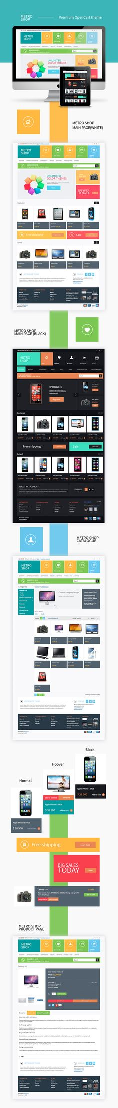 Flat UI / METROSHOP - opencart theme by Ann Tereschenko, via Behance *** MetroShop - premium opencart theme Web Layout, Layout Design, Front End Design, Desktop Design, Interface Design, User Interface, App Design Inspiration, Ui Web, Site Design