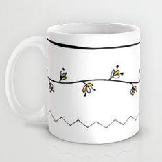 Abstract floral mug kitchen art unique coffee mug ceramic tea mug hipster yellow  black and white modern design mug spring doodle on Etsy, $22.91 AUD