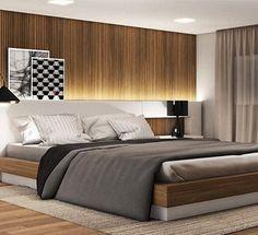 """13 curtidas, 3 comentários - Cosmopolita Decor & Design (@cosmopolita_decor_design) no Instagram: """"Que quarto mais elegante... Amei... Os tons de cinza e a madeira predominam e a pitada de preto…"""""""