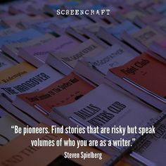 Find stories that are risky. #screenwriting #filmmaking #stevenspielberg #screencraft #quote #filmmaker #cinema