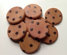 NEW Wooden Play Food: 6 Chocolate Chip Cookies