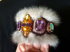 Exclusive bead embroidered set of a brooch and a cuff bracelet with glass rhinestones and silver mink fur - Artisan jewellery by Gemsplusleather on Etsy https://www.etsy.com/listing/245169788/exclusive-bead-embroidered-set-of-a