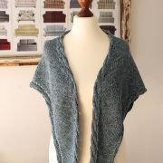 Aegean Sea shawl knitting pattern by Julia Riede, Pattern 6.00Gauge: 14 stitches and 18 rows equals 4 x 4 in (20 x 10 cm) in stockinette stitchYardage: 394 – 492 yards (360 – 450 m)Yarn: GGH Merino Soft [100% Merino, 186 yards (170 meters) per 50 grams (1.76 ounces)], 2 skeins #003 (offwhite, MC), 1 skein #014 (gray, CC1), 1 skein #113 (moss green, CC2)Needles: Size US 6 (4.0 mm) circular needles, 80 cm or longer; or needles to obtain gauge