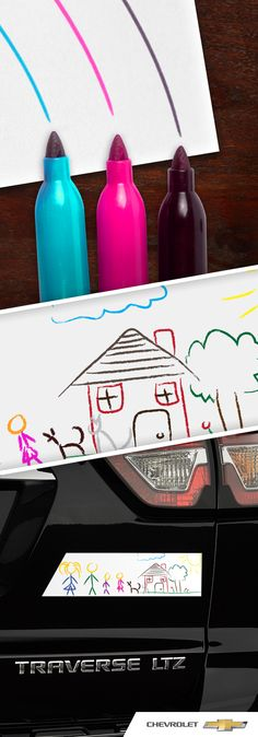 So your kid is on the honor roll at Spring Creek Elementary? Instead of using a boring bumper sticker to show your pride, show off the reason WHY they're on the honor roll – with their creativity. Here's the perfect how-to to take their art on the road with you using your Chevrolet Traverse and magnets.