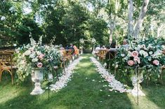 Romantic outdoor #wedding #ceremony decor- petal-lined aisle with floral arrangements {Dear Stacey} #weddinghacks
