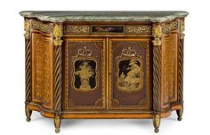 An important 1867 Great Exhibition Louis XVI style lacquer and ormolu-mounted satinwood, amaranth and parquetry meuble à hauteur d'appui