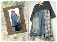 Up to size Large Boho Chic Long Tunic in Shades of Blue and Gray Artsy Romantic Shabby Chic Hippie Upcycled Clothing by Primitive Fringe by PrimitiveFringe