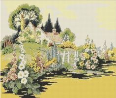 English Country Garden Cross Stitch Pattern, Instant Download Counted Cross Stitch Chart, PDF Digital Download