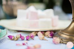 Dried rose tea buds table decoration with homemade marshmallows
