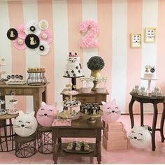 Image may contain: table and indoor Kitten Party, Cat Party, Cat Birthday, 2nd Birthday Parties, Fiestas Peppa Pig, Girls Party, Adoption Party, Ballerina Party, Backdrops For Parties