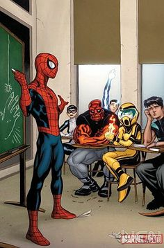 Spider-Man teaching the Avenger's Academy. His class would definetly be my favourite ; Comic Book Characters, Marvel Characters, Comic Character, Comic Books Art, Comic Art, Comic Pics, Book Art, Marvel Dc Comics, Marvel Heroes