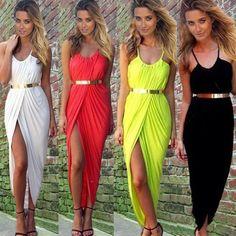 été, femmes. néon. asymétrie fente robe de plage dames noires, blanc, rouge
