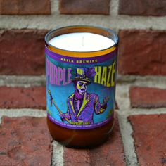 Abita Brewing Purple Haze rasberry lager craft beer bottle candle made with soy wax by RedClayCandles on Etsy