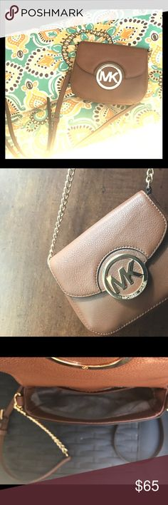 Used once Michael kors small crossbody Literally used once mk small Fulton crossbody brown and gold 6.5x5.5x2.5 snap closure inside pocket and outside pocket Michael Kors Bags Crossbody Bags