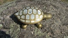 Brass Pearle Turtle Box Vintage Decorative Box Indian by rulentus