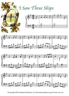 I Saw Three Ships | Easy Christmas Piano Sheet Music - https://thepianostudent.wordpress.com/2015/10/13/i-saw-three-ships-free-intermediate-piano-sheet-music/