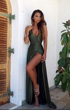 Sexy V Neck Prom Dress,Backless Cheap Prom Dress,Split