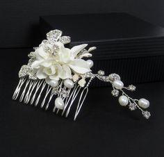 Pearl Flower Bridal Comb Bridal hair comb Wedding by AdrianaSparks, $21.00