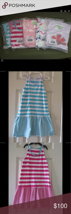 Gymboree kids dresses & a plaid top, lot of 6. I double ordered.  The pictures in bags are the actual dresses that I am selling.  The pictures in the hangers are the dresses that my daughter are using. Tags says 7-8 medium except for the plaid top it says size 7.  Please look at the pictures.  Thanks! Gymboree Dresses Casual