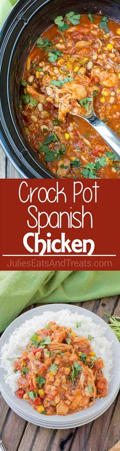 Crock Pot Spanish Chicken ~ Delicious chicken loaded with flavorful spices and veggies. This slow cooker meal is perfect for those busy nights! Crock Pot Soup, Crock Pot Slow Cooker, Crock Pot Cooking, Slow Cooker Recipes, Crockpot Recipes, Cooking Recipes, Healthy Recipes, Crockpot Dishes, Mexican Food Recipes