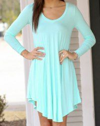 Casual Scoop Neck Long Sleeve Solid Color Dress For Women