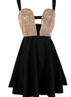 Black Dress with Sequin Embellished Top & Criss Cross Back,  Dress, cutout dress  skater dress, Chic