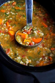 Ingredients: 1 yellow onion, chopped 2 carrots, cut into ½-circles 2 stalks celery, chopped 1 medium sweet potato, peeled and cut into ¾-inch pieces 4 garlic cloves, minced 1 ½ cups frozen green beans ¾ cuppearl barley 1 tsp paprika 1 tsp dried oregano ¾