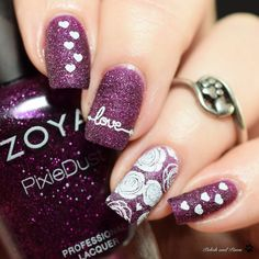 Digit-al Dozen Polish and Paws Textured Valentine's Day Nails Valentine's Day Nail Designs, Purple Nail Designs, Valentine Nails, Valentines Day, Ideas Magazine, Color Club, Beautiful Nail Designs, Stamping Plates, Us Nails