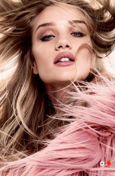 Rosie Huntington-Whitely by Kai Z Feng for Elle UK August 2014: Pink Fur Coat by Gucci Fall 2014 RTW
