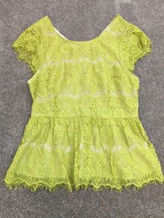 Maeve Anthropologie Green Lace Peplum Short Sleeve Shirt Women's Sz M* #Maeve #Peplum