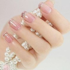 beautiful and unique nail art design 2017 Who says you cannot break the old habits just like that? Tradition may be in favor of the dark colored nail polish manicure but at the end the bottom line is for you to feel comfortable. Fancy Nails, Cute Nails, Pretty Nails, Pink Nails, Sparkly Nails, Fabulous Nails, Gorgeous Nails, Simple Nail Designs, Nail Art Designs