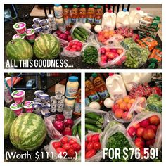 Eating healthy on a budget...how to buy HEALTHY food for cheap! Got $111 worth of groceries for $76, without clipping coupons. From funcheaporfree.com #funcheaporfree #healthy #food