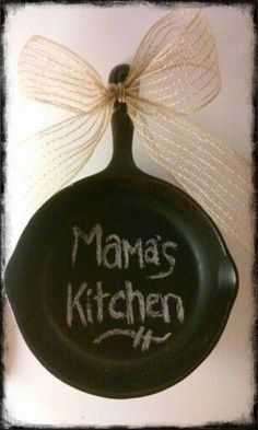 Old cast iron frying pan with chalk paint .....