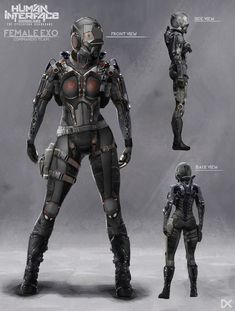 darius kalinauskas - female exosuite - why was the chest plate cut open to expose two boob cups? Wouldn't just having a good, protective, chestplate have been better? Game Concept Art, Armor Concept, Character Concept, Character Art, Character Design, Character Inspiration, Character Modeling, Character Ideas, Arte Ninja