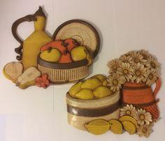 Vtg 60s Set 2 Syroco Homco Yellow Fruit Pears Apples Kitchen Wall Hanging USA | eBay