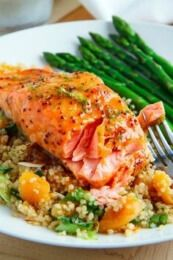 Apricot Dijon Glazed Salmon Sweet apricots combine with salty soy for a sensational fusion of flavor! Salmon Dishes, Fish Dishes, Seafood Dishes, Fish And Seafood, Baked Salmon Recipes, Fish Recipes, Seafood Recipes, Cooking Recipes, Healthy Recipes