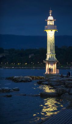 Les Paquis Lighthouse has stood proudly on Lake Leman in Geneve, Switzerland since 1896.