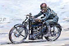 IC Velocette Racer s - in 2 motorsports Bike Poster, Motorcycle Posters, Motorcycle Art, Bike Art, Harley Davidson Art, Retro Bike, Garage Art, Art Uk, Vintage Posters