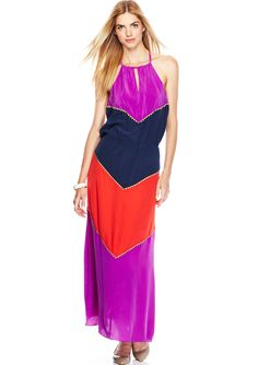 BCBGMAXAZRIA Colorblock Dee Maxi Dress