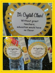 employee appreciation ideas Teacher appreciation treat - Crystal light with a bottle of water Staff Gifts, Volunteer Gifts, Volunteer Appreciation Gifts, Teacher Morale, Staff Morale, Teachers Week, Teacher Treats, Little Presents, Teacher Appreciation Week