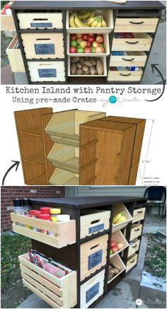 Diy Kitchen Island, Diy Kitchen Storage, Pantry Storage, Wooden Kitchen, Diy Storage, Kitchen Organization, Storage Ideas, Kitchen Ideas, Kitchen Hacks