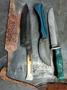 Knives with stabilized wood handles.