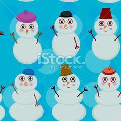 Seamless pattern cute cartoon snowmen on blue background winter design. Royalty Free Stock Vector Art Illustration