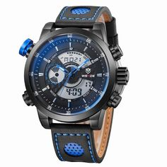 5ff0dc22c 2017 NEW WEIDE Luxury Brand Men s Quartz LED Watches Men Fashion Casual  Sports Clock Genuine Leather