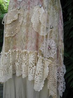 vintage lace and doiley dress, made in NZ - check their Etsy, so many pretty things!