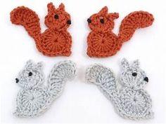 Crochet appliques, 4 small grey and rust applique ...