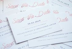 Save the dates with rose gold foil Stationery Design, Wedding Stationery, Wedding Invitations, Rose Gold Foil, Save The Date, Dates, Signage, Masquerade Wedding Invitations, Wedding Invitation Cards