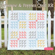 Primrose & Poppies Quilt Kit Featuring Wallflowers by Cluck Cluck Sew - Fat Quarter Shop